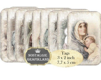 Madonna & Child Tags Instant Download digital collage sheet Shabby Chic Religious Holy Mary T092