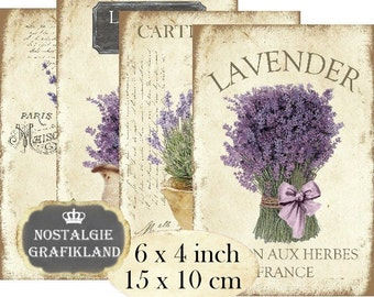French Lavender Provence 6 x 4 inch Instant Download digital collage sheet D116 France Herbs Flowers