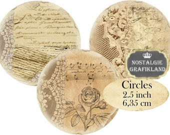 Circles 2.5 inch Vintage Lace Instant Download digital collage sheet C193 Ephemera