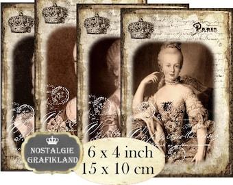 Marie Antoinette French Paris La Reine 6 x 4 inch Instant Download digital collage sheet Versailles D226