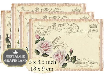 Shabby Chic Maison Roses Instant Download digital collage sheet P177 pastel strips rose