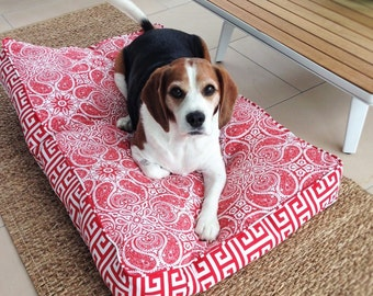 Pet Bed Cover - Red Paisley -  3 sizes (S,M)