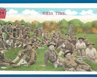Linen Postcard - WWI Soldiers Taking A Break While Eating at Mess Time  (1978)