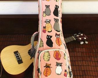 Ms Cat Soprano Ukulele Cases Soft Padded Ukulele Carry Bags Canvas Ukulele Gig Bags  Gifts for Girls