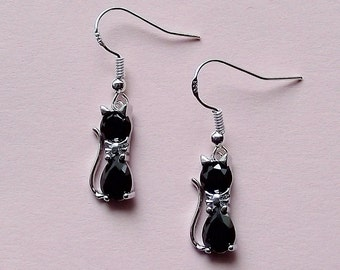 Cat Earrings - Crystal  Cat Earrings Black - Silver Plated