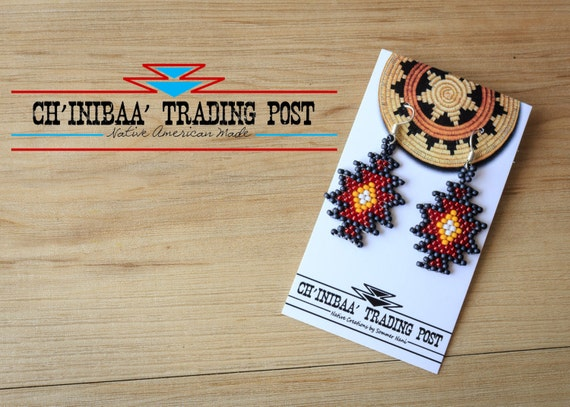 Navajo Star Gray, Red, Yellow and White Native American Earrings Made by SommerNani