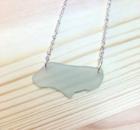 Double Drilled Frosty White seaglass Necklace