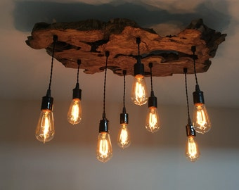 Custom to order/create your own Medium Live-Edge Olive Wood Chandelier Light Fixture with Edison Bulbs. Check description!*