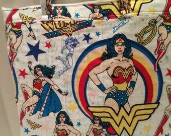 Wonder Woman flannel tote bag