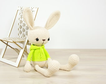 PATTERN: Bunny in a hooded sweatshirt - Crochet pattern - Amigurumi tutorial with photos (EN-062)