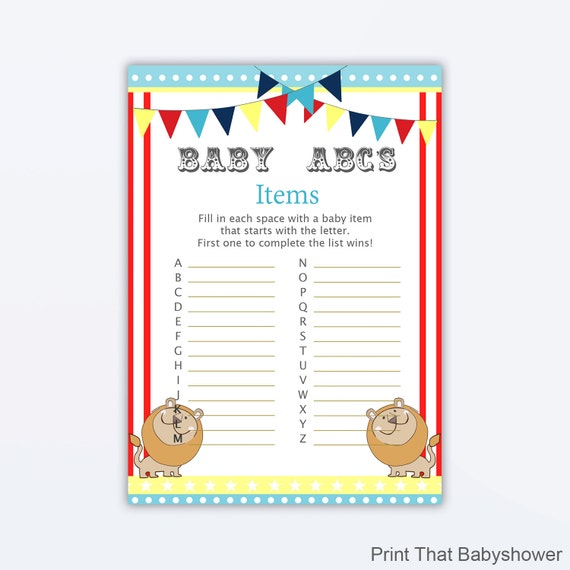 Baby Shower Games Baby Items Abc Game Circus Baby Shower