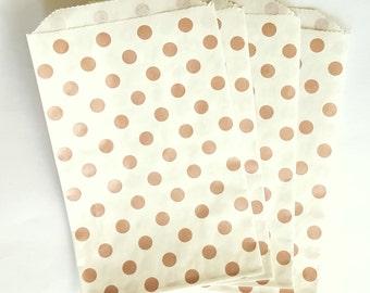 "10 Metallic Rose Gold Polk Dot Favor Bags, 5"" x 7.5"", Party Favor Bags, Wedding Favor Bag, Bridal Shower Favor Bags, Candy Buffet Bags,"