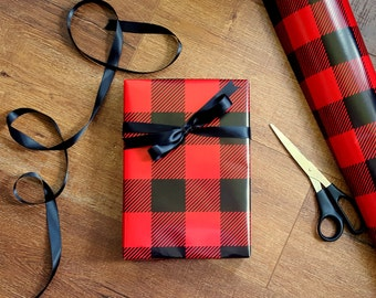 Red and Black Buffalo Plaid Wrapping Paper, 10 ft x 2 ft. Roll, Country Wrapping Paper, Lumberjack Masculine Gift Wrap, Father's Day