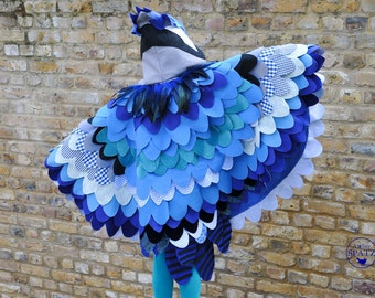 Blue Jay Costume | Mockingjay Bird Costume | Bird Cape | Wings for Halloween | Hunger Games | Theater - hand made to order