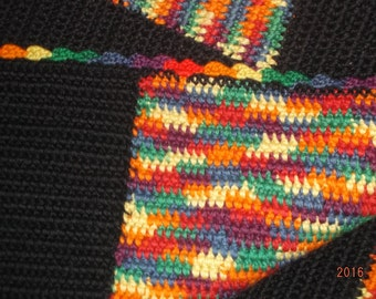 Vintage Hand crocheted colorful charm patchwork blanket/lap blanket or throw