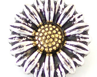 KB6820  Beautiful Antiqued Silver and Gold Daisy
