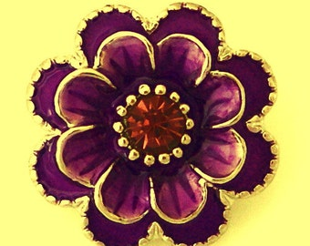 KB8776 3D Purple Enamel Flower with Faceted Crystal Center