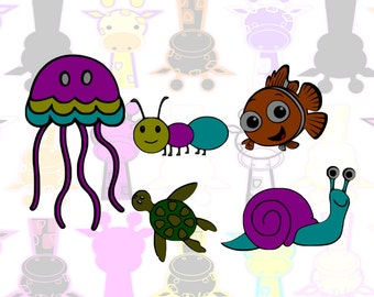 Nemo SVG, Octopus SVG, Ant SVG, Snail, Turtle- Color