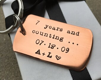 Couples Initials 7th Anniversary Keychain, Copper Anniversary Gift,  7 Years And Counting Anniversary, Personalized Copper  Key Chain