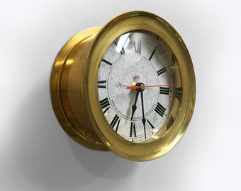 Nautical Brass Ship Capitan Clock by Makers to the Admiralty