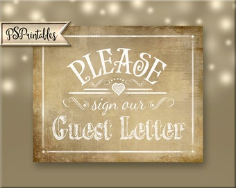 Please sign our Guest Letter Printable Wedding Vintage sign, wedding monogram sign, monogram letter sign, Vintage Heart Collection
