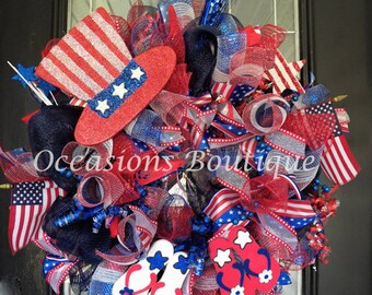 Huge! Fourth of July Wreath, Patriotic Wreath, July 4th Wreath, Deco Mesh Wreath, Summer Wreath, Door Hanger