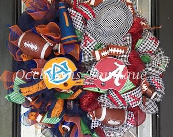 House Divided Football  Wreath, Alabama Crimson Tide, Auburn Tigers, Door hanger, Wreath for door, Deco mesh, Door Decor