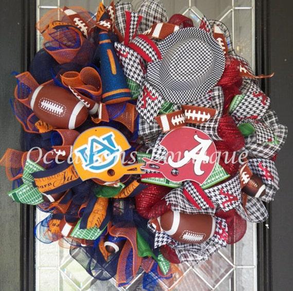 House Divided Football Wreath Alabama Crimson Tide Auburn