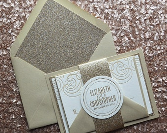 Champagne U0026 Gold Glitter Letterpress Wedding Invitation, Gold Glitter Wedding  Invite, Champagne Invitation,