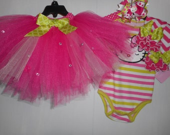 Hello Kitty Tutu Outfit Onsie Leg Warmers Hair Bow Hello Kitty Tutu Girls Tutu Outfit 4 Piece Complete Outfit