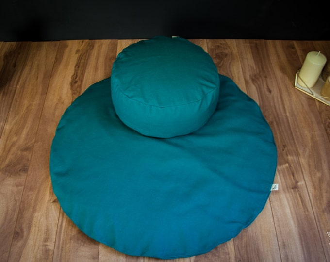 Meditation sit set Zafu Zabuton comboTeal Plain cushion mat organic Buckwheat pillow handmade by Creations Mariposa EM-SU