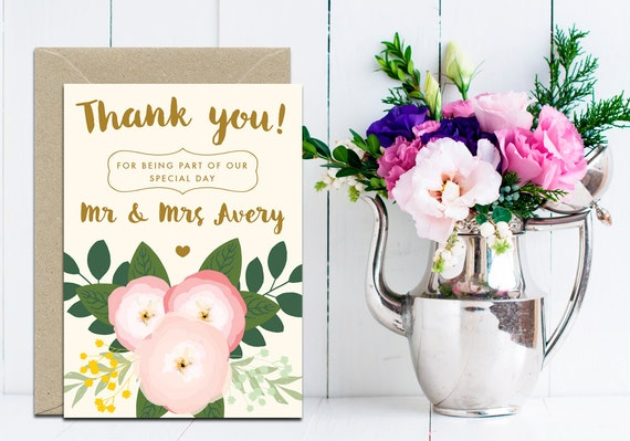 thank you cards custom wedding thank you cards floral wedding thank