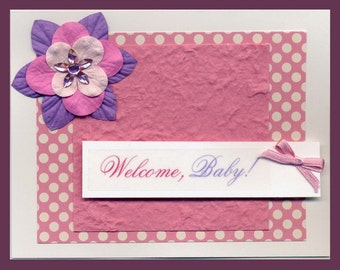 Welcome Baby Baby Shower or New Baby Card - Girl