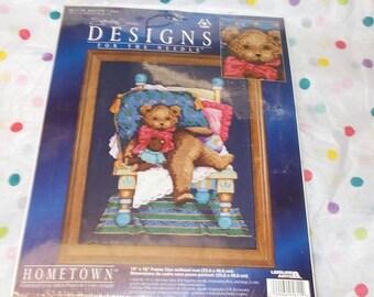 Hometown Signature series Teddy bears kit  14x16 Counted cross stitch kit leisure arts 5611 Mr bear needlecraft kits dark blue aida needle