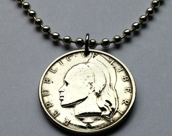 1968 Republic of Liberia 25 cents coin pendant necklace African Liberian lady woman headdress West Africa American Colonization No.001424