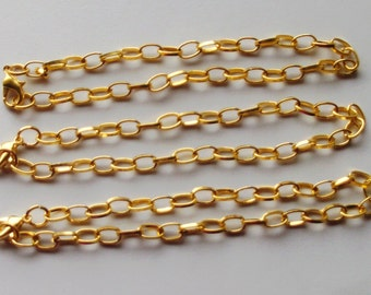 3 x Chain Bracelets With Lobster Clasp For Making Charm Bracelets Gold Plated