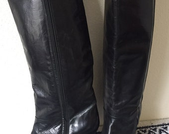Vintage NOGUERON Made in Spain Black Leather Tall Boots Size 7