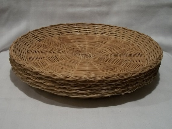 wicker paper plate holders lot of 5 vintage natural rattan. Black Bedroom Furniture Sets. Home Design Ideas