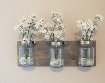 Mason jar organizer, vases, bathroom storage, wall mount mason jar, housewarming gift, bathroom decor, bathroom organizer, mason jar decor