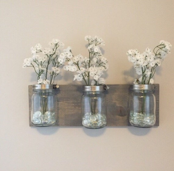 mason jar organizer vases bathroom storage wall mount mason