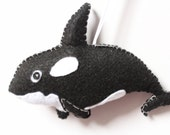 Felt Orca Ornament, Killer Whale Ornament, Sea World Orca, Plush Orca Ornament, Nursery Orca Decor, Ocean Animal Ornament