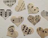 100 Paper Music Hearts - Vintage Music Confetti - Wedding Table Decor - Music Theme - Paper Party Decor - Hand Punched Music Confetti