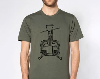 KillerBeeMoto: Huey Helicopter Front View Cartoon Style Short & Long Sleeve Shirts