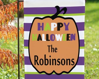 Personalized Halloween Garden Flag, Happy Halloween Flag