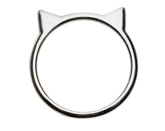 Cat Ear Ring in Sterling Silver by Silver Phantom Jewelry