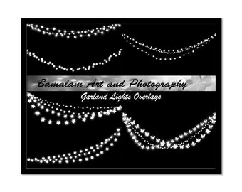 String Lights, Light Garland Overlays, Photoshop Overlays for Portraits, Baby, Fairytale, Scrapbooking