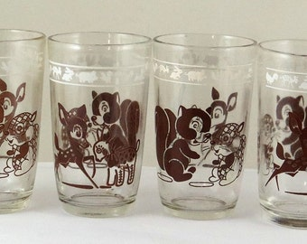 Vtg Swanky Swigs Glasses 4 Brown Deer Squirrels Playing Matching Toys Easter