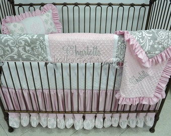 Bumper Free Pink and Gray Baby Girl's Bedding: Charlotte