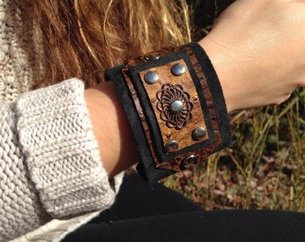 Leather cuff bracelet, womens jewelry, boho, bohemian, gypsy, leather jewelry, western jewelry, leather wristband, cuff, black suede