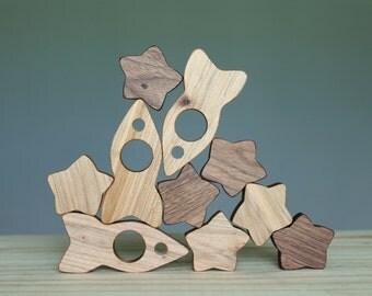 Wooden rocket, wooden toy, Waldorf toy, wooden blocks, balance game